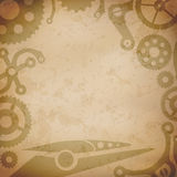 Steampunk background with vintage mechanism parts Stock Photo