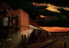 Steampunk-Bahnhof Lizenzfreies Stockbild
