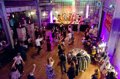 Steampunk Ball. An overhead view of dancers tearing up the floor to the music of swing jazz band Sir Pinkerton and the Magnificents at the 2013 Steampunk Ball Stock Images