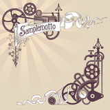 Steampunk banner design. Banner and corner frame design made from steam engine parts. Steampunk styled vector illustration Royalty Free Stock Image