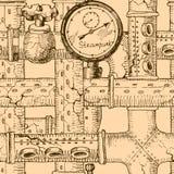Steampunk. Beautiful steampunk hand drawn old seamless pattern Stock Images