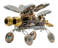 Steampunk bee. Bronze and steel parts. Retro stock photo