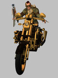 Steampunk Biker. Blunderbuss wielding steampunk biker with mohican hairstyle Royalty Free Stock Photo