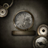 Steampunk border with heart in glass dome Stock Photo