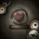 Steampunk border with heart in glass dome. Grunge steampunk themed background with blurred border and heart in glass dome stock image