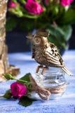 Steampunk brązowieje ptaka na szklanej filiżance na błękitnej drewnianej tacy Obraz Stock