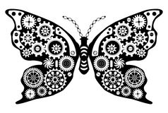 Free Steampunk Butterfly. Fantastic Insect In Vintage Style For Tattoo, Sticker, Print And Decorations. Royalty Free Stock Images - 80492499