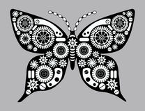 Steampunk butterfly. Fantastic insect in vintage style for tattoo, sticker, print and decorations. Mechanism made of cogs and gears Royalty Free Stock Images