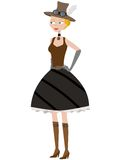 Steampunk cartoon woman posing Royalty Free Stock Photo