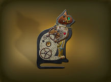 Steampunk Cat. Steampunk mechanical cat with gears and jewels Stock Photos