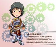 Steampunk-Charakter in der Karikaturart lizenzfreie stockfotos