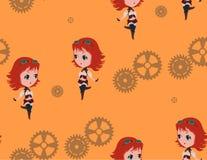 Steampunk Chibi stock illustrationer