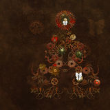 Steampunk Christmas. A decorated Steampunk christmas tree of gear clockwork in brown with steampunk christmas decoration Stock Image