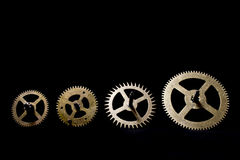 Steampunk Clock Cogs on Black Background. Close up of Steampunk Clock Cogs on Black Background royalty free stock photo