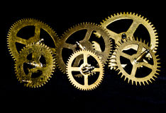 Steampunk Clock Cogs on Black Background. Close up of Steampunk Clock Cogs on Black Background royalty free stock photography
