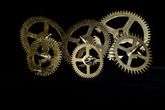 Steampunk Clock Cogs on Black Background Stock Photo