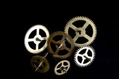 Steampunk Clock Cogs on Black Background Royalty Free Stock Image