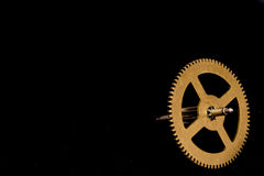 Steampunk Clock Cogs on Black Background Stock Image