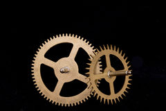 Steampunk Clock Cogs on Black Background Royalty Free Stock Photography