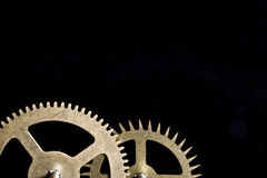 Steampunk Clock Cogs on Black Background Royalty Free Stock Images