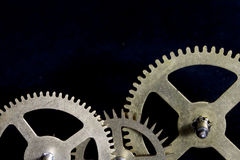 Steampunk Clock Cogs on Black Background Stock Photography