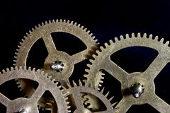 Steampunk Clock Cogs on Black Background Stock Photos