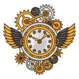 Steampunk clock collage of metal gears in doodle Stock Images