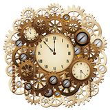Steampunk Clock Gears Vintage Retro Mechanism Vector Graphic Art. Steampunk Clock, Weird Vintage Stylish Object composed by several Clocks, Watches, Retro stock illustration