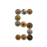 Steampunk cogs gears mechanical design digit number 5. Vintage rusty shabby metal textured industrial figure 5. Retro. Technology machinery wheels connection Stock Photo