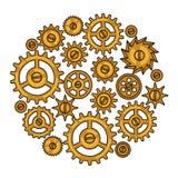 Steampunk collage av metallkugghjul i klotterstil Royaltyfria Bilder