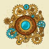 Steampunk collage av metallkugghjul i klotterstil Arkivbilder
