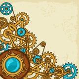 Steampunk-Collage des Metalls übersetzt in der Gekritzelart Stockfotografie