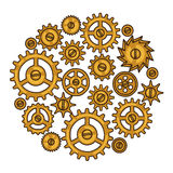 Steampunk collage of metal gears in doodle style Royalty Free Stock Images