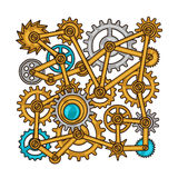 Steampunk collage of metal gears in doodle style Stock Images