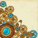 Steampunk collage of metal gears in doodle style Stock Photography