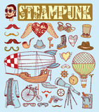 Steampunk collection, hand drawn  illustration Stock Images