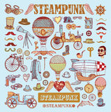 Steampunk collection, hand drawn  illustration Royalty Free Stock Images