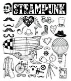 Steampunk collection, hand drawn vector illustration Stock Photos