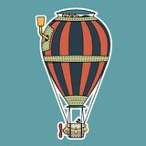 Steampunk colorful hot air balloon. On blue background with white border. Air balloon with gears and chimney in steampunk style. Striped Balloon with iron rings Stock Illustration