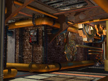 Steampunk construction. 3D rendered steampunk industrial scene of ventilation system Royalty Free Stock Images