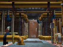 Steampunk construction. 3D rendered steampunk industrial scene of ventilation system Royalty Free Stock Photo