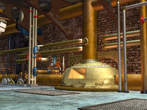 Steampunk construction. 3D rendered steampunk industrial scene of ventilation system Stock Photography