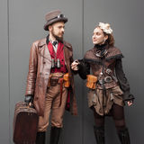 Steampunk cosplayers posing at Festival del Fumetto convention in Milan, Italy Stock Photography