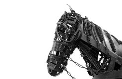 Steampunk design horse sculpture isolated on white background Stock Photos