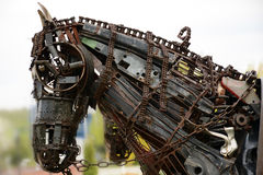 Steampunk design metal horse sculpture background Royalty Free Stock Image