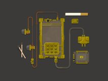 Steampunk design mobile phone flat Royalty Free Stock Photography