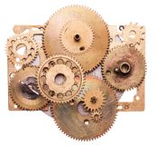 Steampunk device. Steampunk details isolated on white. Mechanical clocks details, gears as a fantasy device Royalty Free Stock Images