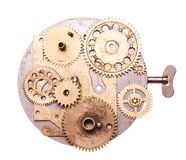 Steampunk device. Steampunk details isolated on white. Mechanical clocks details, gears as a fantasy device Stock Photo