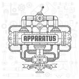 Steampunk device. Steampunk machinery engineer robotic composition. Fantastic device.   vector illustration. Text, background, shadows, fill and stroke on Royalty Free Stock Photo