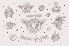 Steampunk die met ruimtevaartuigen wordt geplaatst royalty-vrije illustratie